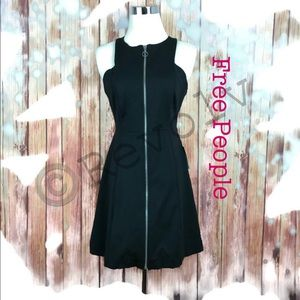 New Free People Retro Cut Out Black Zipper Dress